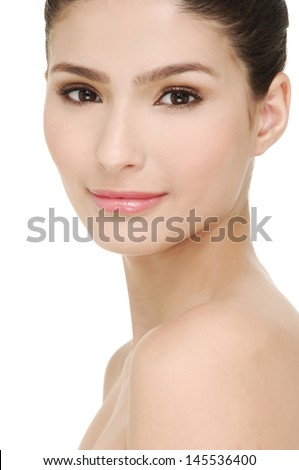 Portrait of Beautiful Young Woman looking at Camera. Iso Background. Fresh Clean Skin - stock photo