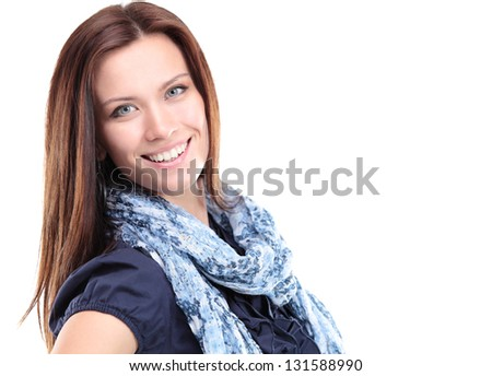 Portrait of beautiful young woman posing against white background - stock photo