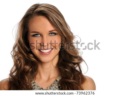 Portrait of beautiful young woman smiling isolated over white background