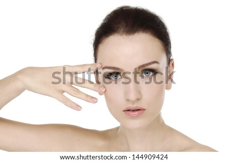 portrait of beautiful young woman with healthy clean skin on a face