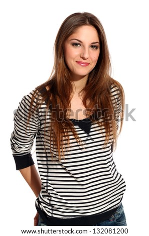 Portrait of beautiful young woman with long hair - stock photo