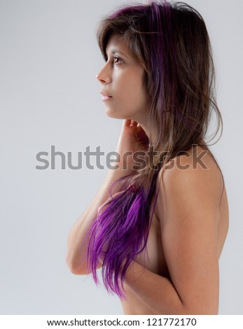 Portrait of Beautiful Young Woman With Purple Hair