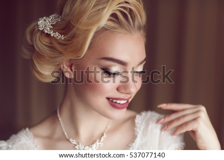 Bride hair stock images royalty free images vectors shutterstock portrait of beauty bride in white dress classic style junglespirit Images