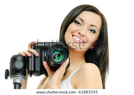 portrait of beauty brunette with camera on white