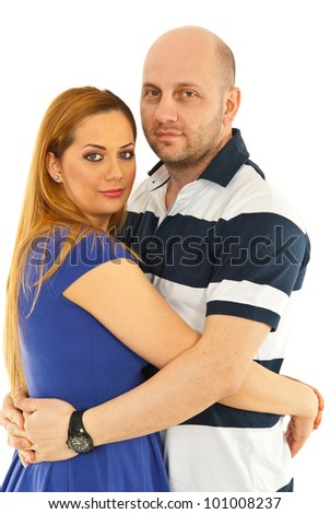 Portrait of beauty couple hugging isolated on white background