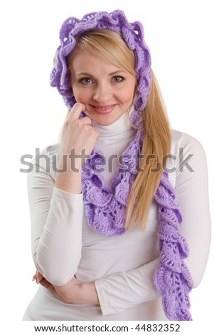 Portrait of beauty girl in purple scarf.