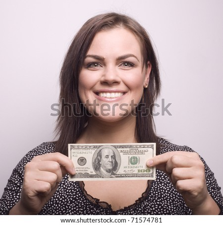 portrait of beauty girl with money