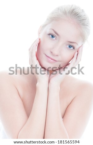 Portrait of beauty woman on white background - stock photo
