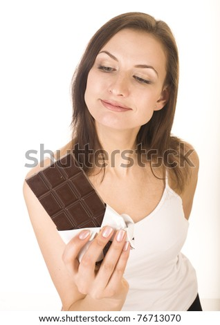 portrait of beauty woman with chocolate