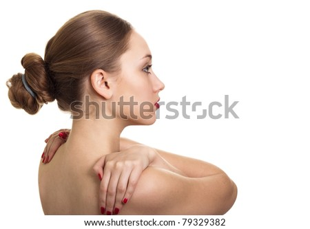 portrait of beauty woman with red bright manicure on white background - stock photo