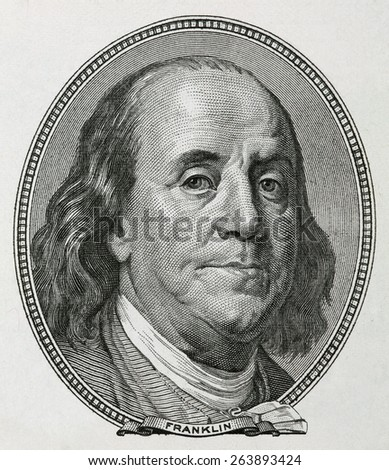 Portrait of Benjamin Franklin, is depicted on the banknote one hundred dollars USA