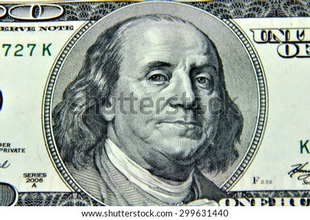 Portrait of Benjamin Franklin macro from one hundred dollars bill