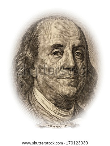 Portrait of Benjamin Franklin on the 100 dollar bill money