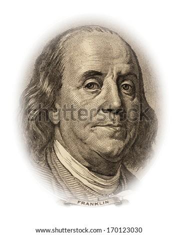 Portrait of Benjamin Franklin on the 100 dollar bill money - stock photo