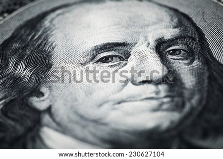 Portrait of Benjamin Franklin shots in macro lens from one hundred dollars banknote