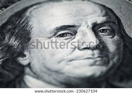 Portrait of Benjamin Franklin shots in macro lens from one hundred dollars banknote  - stock photo