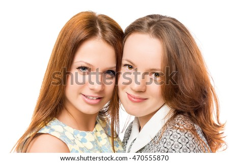 portrait of best friends, close-up on a white background