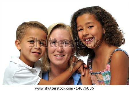 Portrait of biracial family smiling against a white background - stock photo