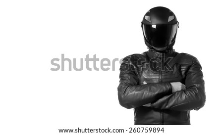 Portrait of black motorcyclist with helmet isolated on white background. - stock photo