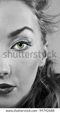 Portrait of blond girl with stylish make-up - stock photo