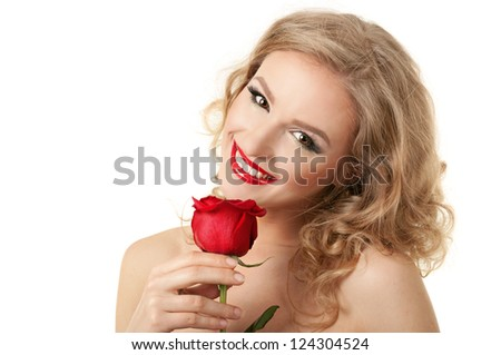 Portrait of blond long hair girl with red rose