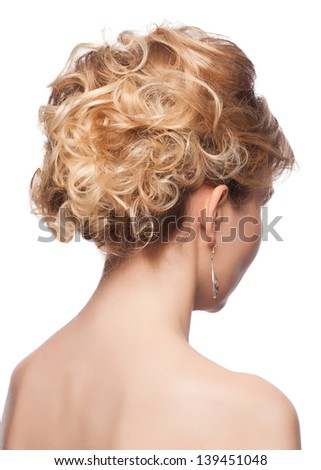 Portrait of blond woman with elegant hairstyle. Rear view, isolated on white background - stock photo