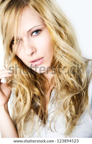 Portrait of blond woman with long hair