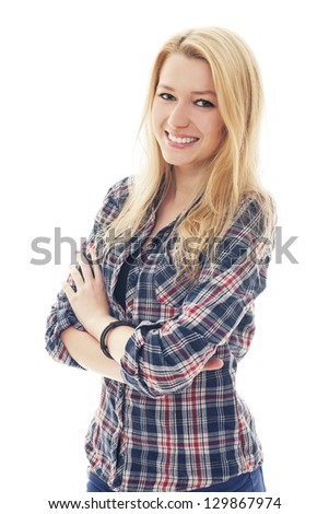 Portrait of blonde girl - stock photo