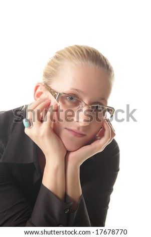 Portrait of blonde girl in black shirt isolated