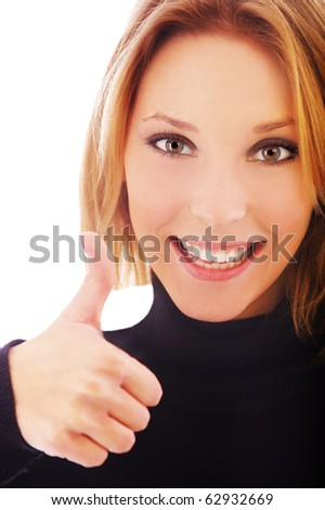 portrait of blonde girl showing tumb up on white