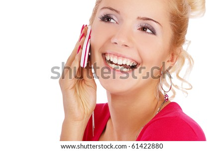 portrait of blonde girl with cellphone on white - stock photo
