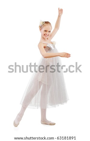 portrait of blonde kid ballet dancer on white