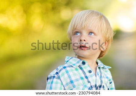 Portrait of blonde little boy posing outside - stock photo