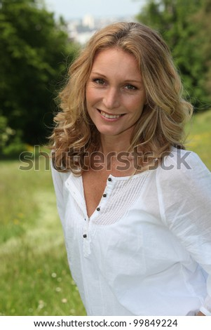 Portrait of blonde woman - stock photo