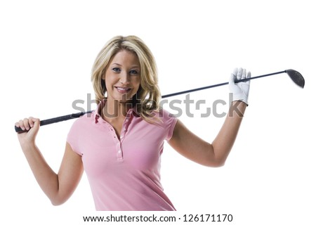 Portrait of blonde woman holding golf club