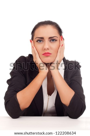 Portrait of bored business woman - stock photo