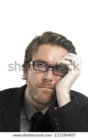 Portrait of bored businessman against white background