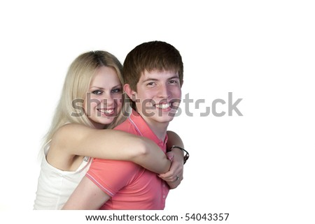 Portrait of boy and girl on a white background - stock photo
