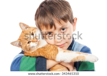 Portrait of boy with his cat. Isolation on white