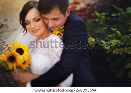 Portrait Of Bridal Couple Outdoors - stock photo