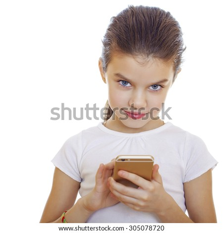 Portrait of brunette Caucasian schoolgirl with mobile phone isolated on white  - stock photo
