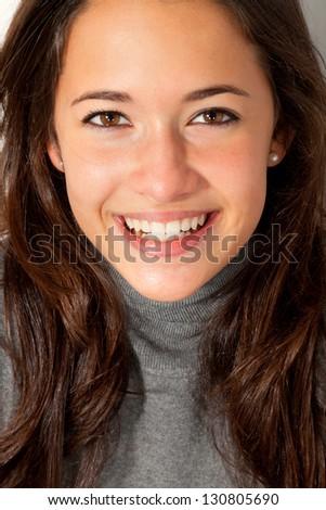 portrait of brunette girl with long hair - stock photo