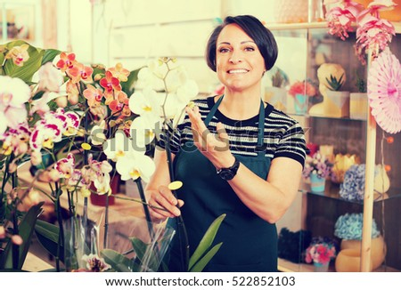 Portrait of brunette happy female florist arranging a phalaenopsis in the gardening department