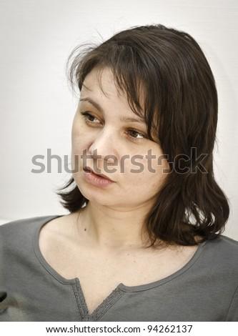 Portrait of brunette woman - stock photo