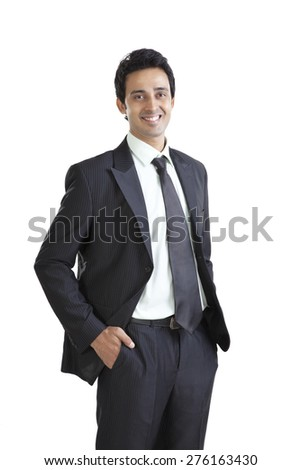 Portrait of business executive smiling - stock photo