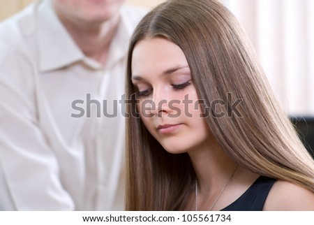 Portrait of business girl at office. - stock photo