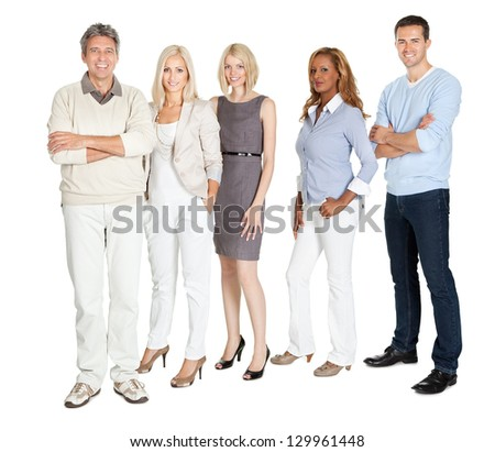 Portrait of business group standing confidently on white background - stock photo