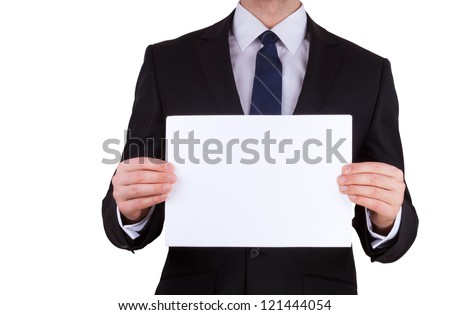 Portrait of business man holding blank note card isolated - stock photo