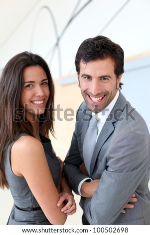 Portrait of business partners looking at camera - stock photo