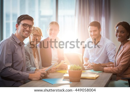 Portrait of business people during a meeting in the office